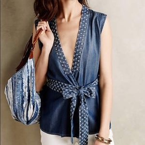 Holding Horses Blue Stitched Chambray Vest